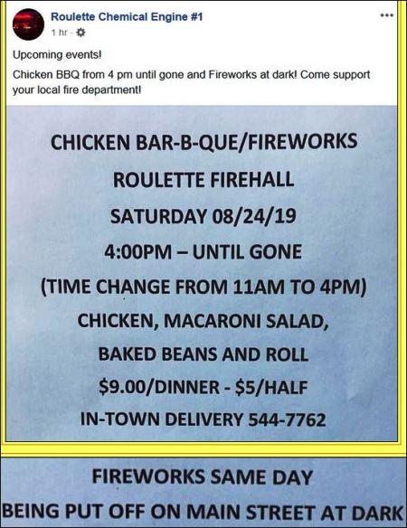 8-24 Chicken BBQ & Fireworks, Roulette VFD