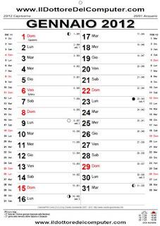 Calendario Con Numero Giorni.Calendari 2012 Da Stampare