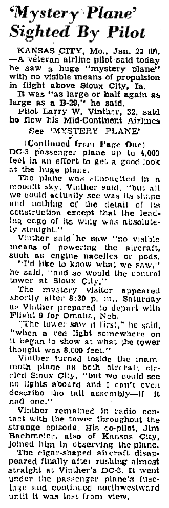 'Mystery Plane' Sighted By Pilot - The Charleston Daily Mail 1-22-1951