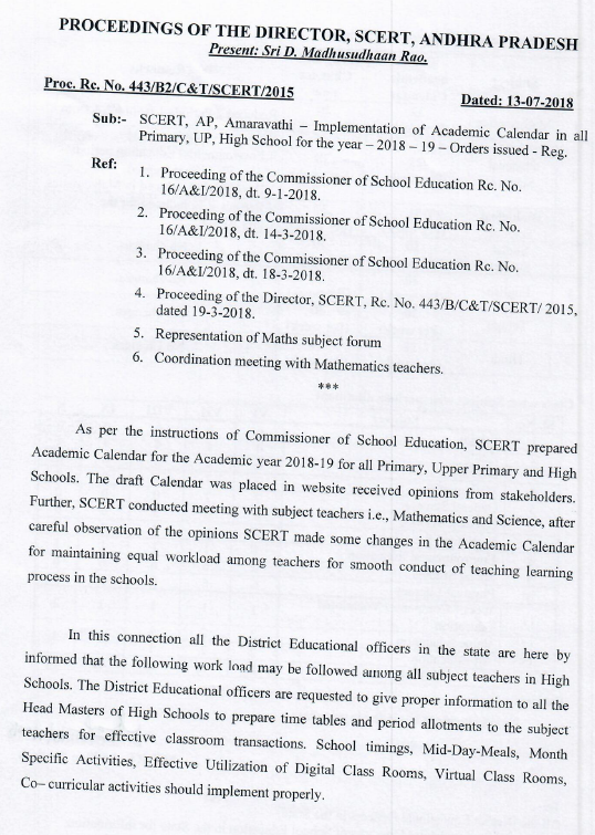 Implementation of Academic Calendar in all Primary, UP, High School for the year 2018-19   Rc.No.443