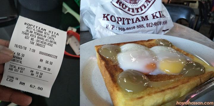 Harga makan di Kopitiam kita