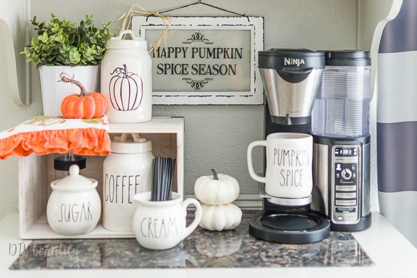 fall decorated coffee station