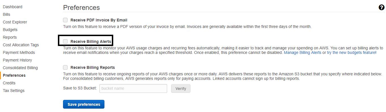 Configure AWS Cloudwatch billing alerts - A system
