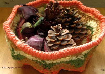 Fall Colors Handmade Basket I Crocheted on RSS Designs In Fiber