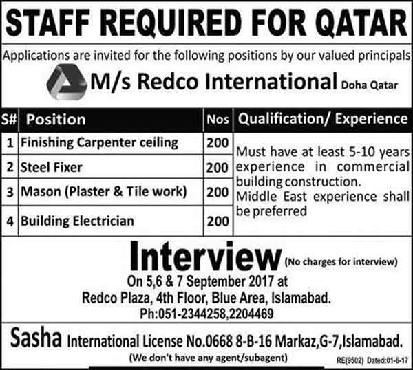 Jobs In MS Redco International Islamabad Oct 2017