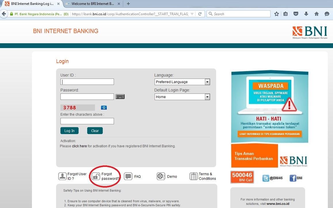 BNI Internet Banking Anda Terblokir, Pakai Set Password