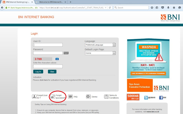 BNI Internet Banking Anda Terblokir, Pakai Set Password Online Saja..