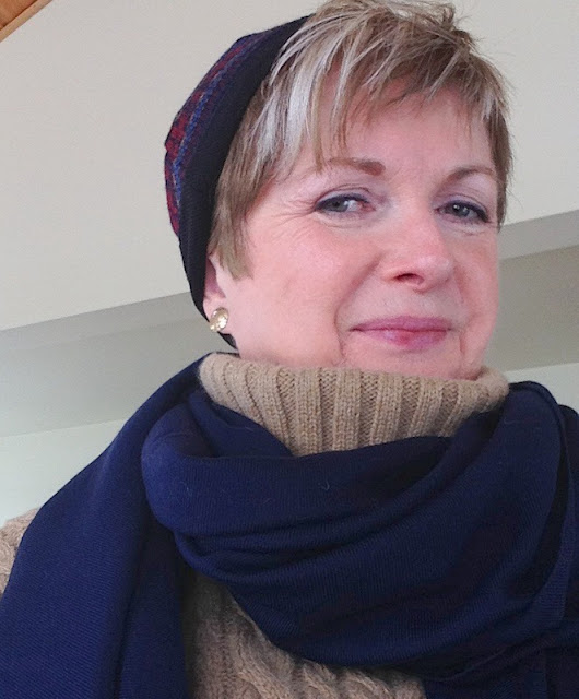 Adrienne Vittadini sweater, scarf Norsdtrom, toque Bula, earrings from Magpie Jewellry
