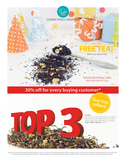 Customer Specials for January 2017 - Free Tea & 30% off!