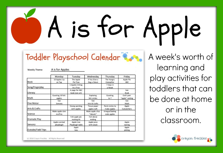 Crayon Freckles: Toddler Playschool: A is for Apples Lesson Plan ...