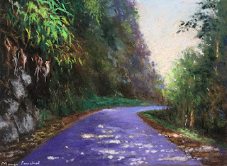 A soft pastel landscape painting of a scene from Sikkim by Manju Panchal