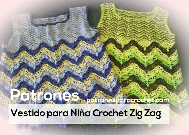 Cómo tejer vestido de niña al crochet con zig zag / Patrones y ...