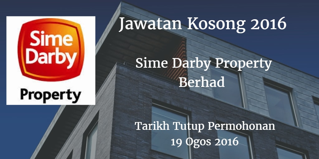 Jawatan Kosong Sime Darby Property Berhad  19 Ogos 2016