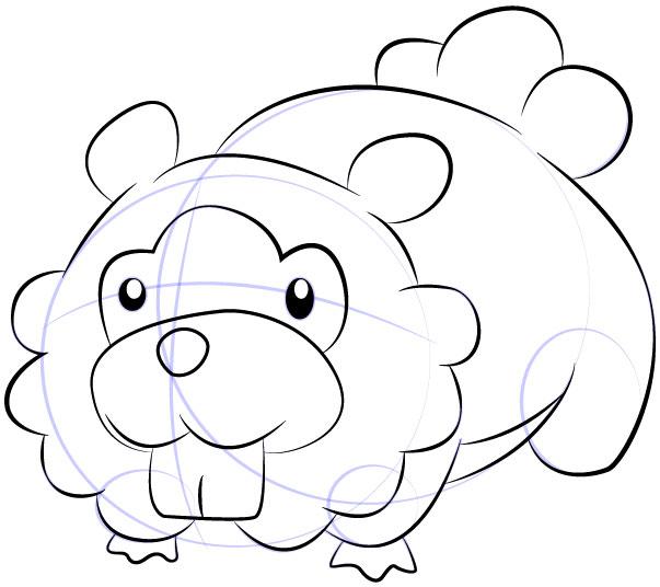 Cara Mudah Sketsa atau Menggambar Bidoof dari Pokemon