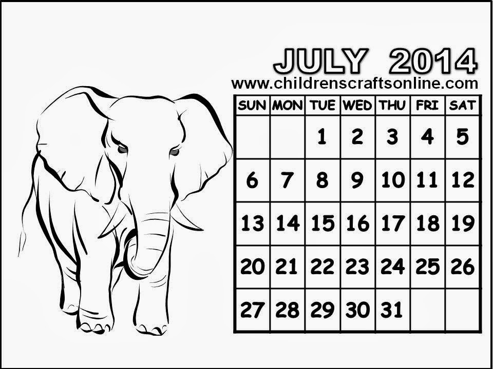 Free color july 2015 calendar coloring pages