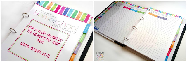 Monthly homeschool reflections for the planner