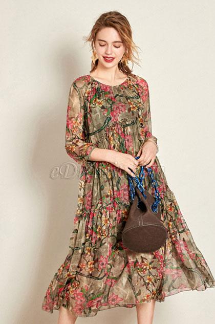 Simple Silk 3/4 Sleeves Printed Dress Day Wear