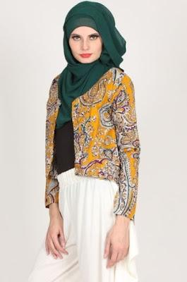 Baju polos kombinasi blazer batik trendy