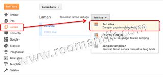 sub menu dropdown tabs horisontal blogger standard