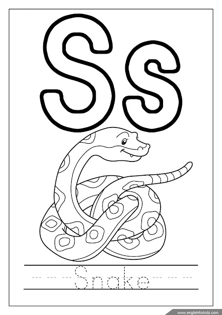 Letter s coloring, snake coloring, alphabet coloring page