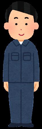 紺色の作業着を着た人のイラスト(男性)