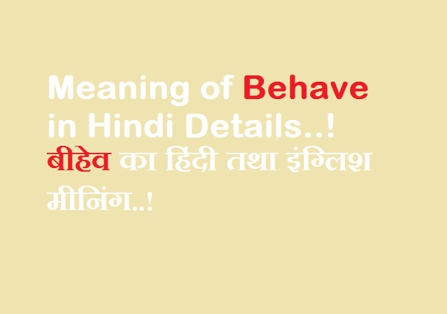 Meaning of Behave