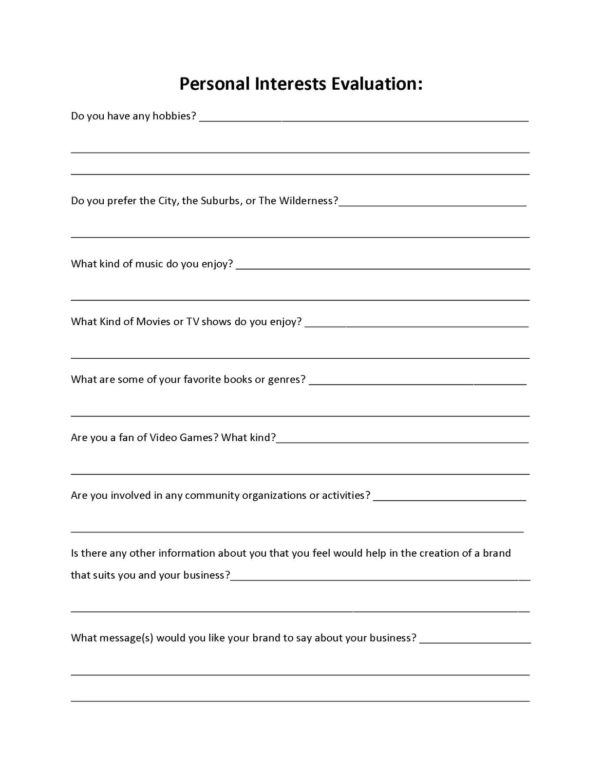 Covert S Creative Corner Client Assessment Form