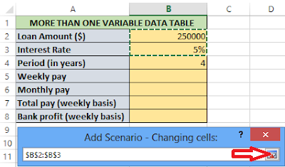 Select your changing cells for the multiple variable and click the bolt again