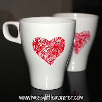 valentines day craft ideas for kids:  scribble heart diy mug with shapries