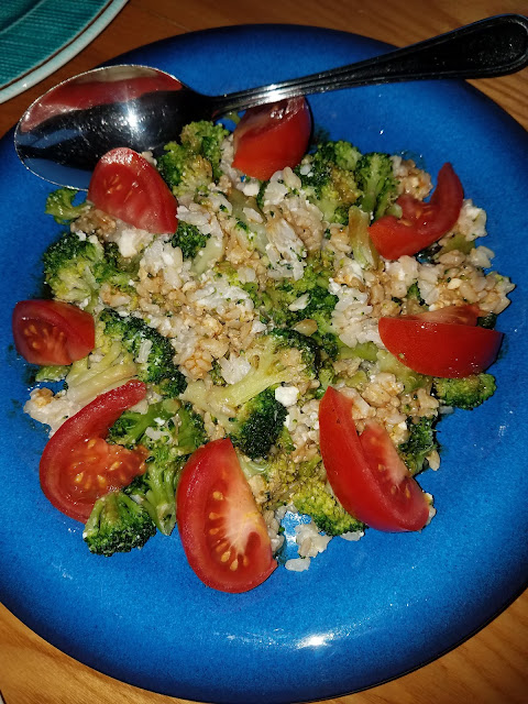 Warm Broccoli and Brown Rice Salad with Feta, zesty and delicious!