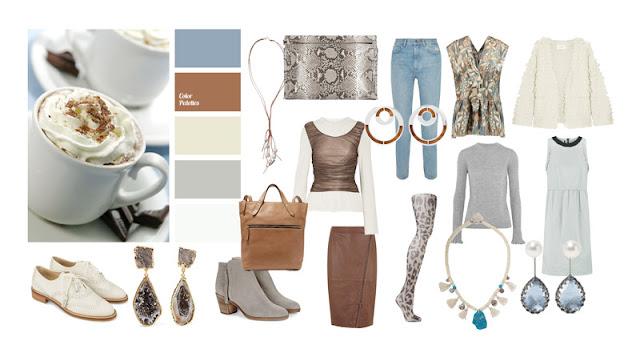 Цветовая палитра и мини капсула белый, серый, кремовый, коричневый, голубой