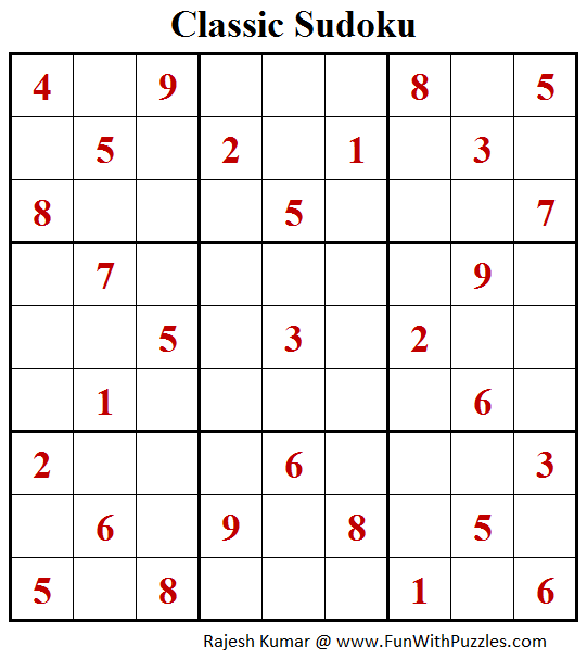Classic Sudoku Puzzles (Fun With Sudoku #211)