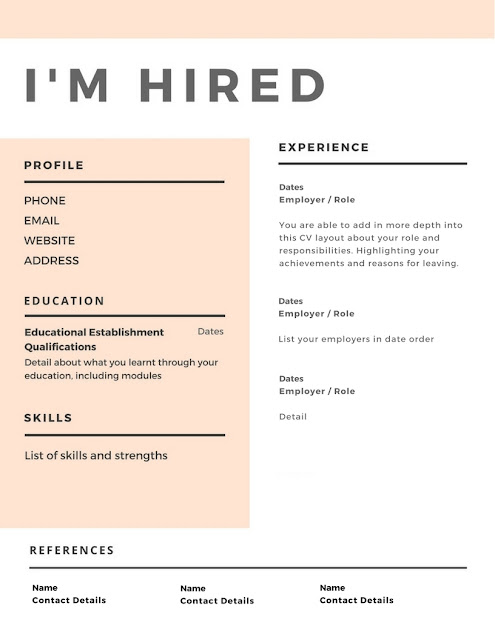 A CV that allows you to show you are creative whilst also being detailed