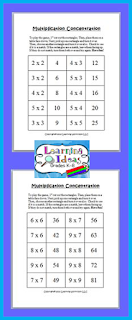 http://learningideasgradesk-8.blogspot.com/2014/06/multiplication-concentration-freebie.html