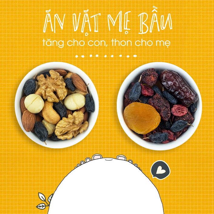Mixnuts ăn vặt cho Mẹ Bầu tháng đầu nên ăn