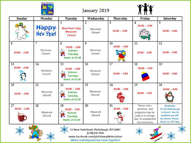 Children January 2019 Calendar Kids' Station Children's Museum: 2019