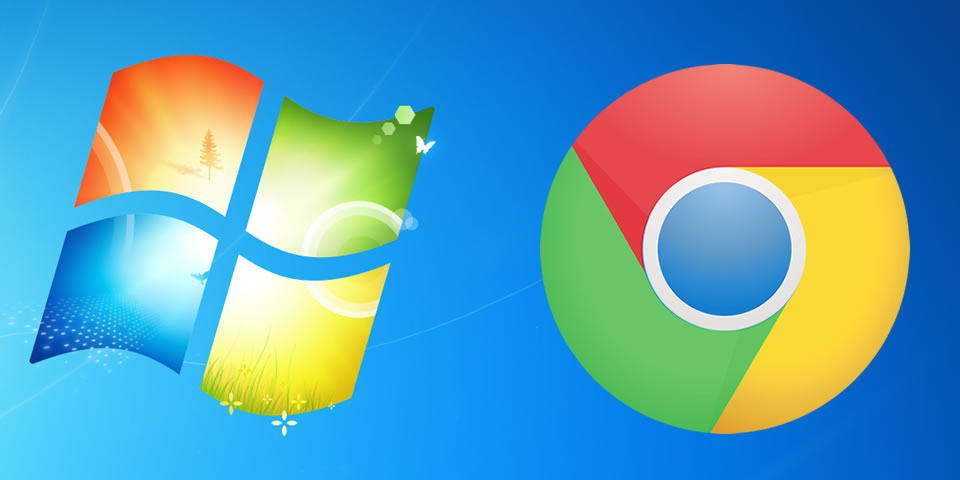 Logotipos do Windows 7 e do Google Chrome