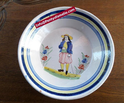 Unique old Malicorne pottery, soup bowls made in France. late 1800s faience dinner plates depicting breton Man with floral pattern, deep dishes related to Pouplard Beatrix model.