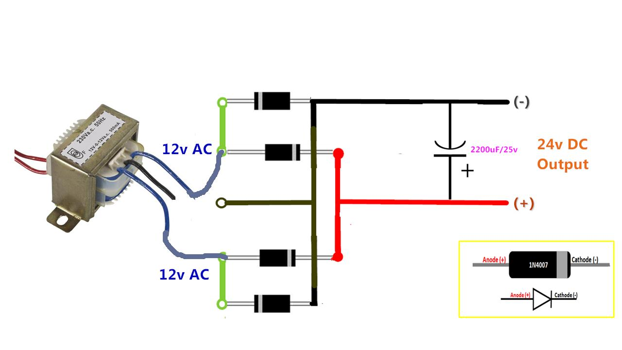 24v Rectifier Wiring Diagram Library Bridge 2 In 1 Ac To Dc Pcb Board Full Wave Center Tapped
