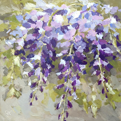 Oil painting of Wisteria flowers in purple and pinks
