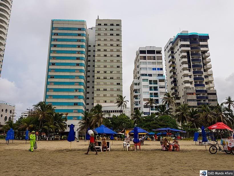 Praia em frente Hotel Cartagena Plaza - Diário de bordo: 4 dias em Cartagena, Colômbia