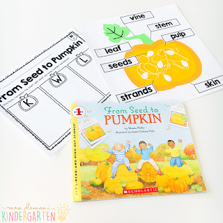 We love reading and learning about pumpkins in our kindergarten classroom, but planning meaningful comprehension activities can be a challenge. This Pumpkin: Read & Respond pack made it super easy to teach 5 comprehension skills for 5 of our favorite picture books. Students especially love the themed crafts and writing prompts too!