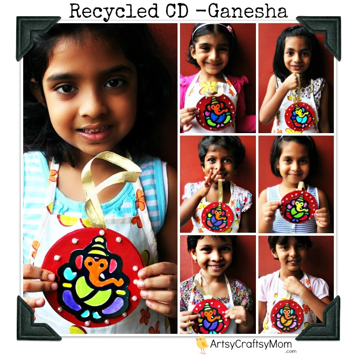 Ganesha craft CD wall hanging Ganesha Car hanging   CD Craft crafts age5 7 age3 5  Recycled Crafts Ganesha Craft Classes
