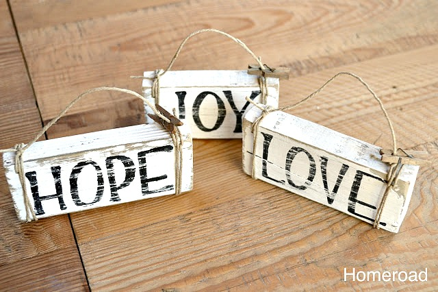 rustic distressed DIY christmas ornaments