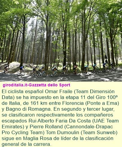 Etapa 11: Fraile triunfa en la etapa de los Apeninos.