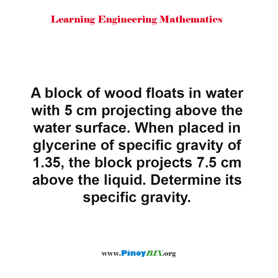 Determine the specific gravity of a block of wood