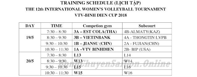 Cúp quốc tế nữ VTV9 - Bình Điền 2018: Lịch thi đấu và tập luyện vòng bán kết