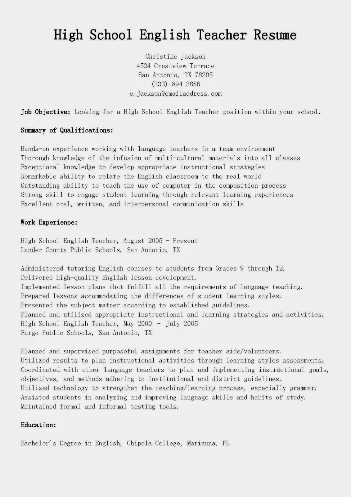 Resume samples high school english teacher resume sample for Sample resume of a teacher in high school