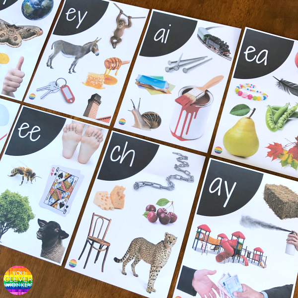 Printable Digraph Wall Posters - 25 full colour posters using real life photos to help learn all the digraphs | you clever monkey