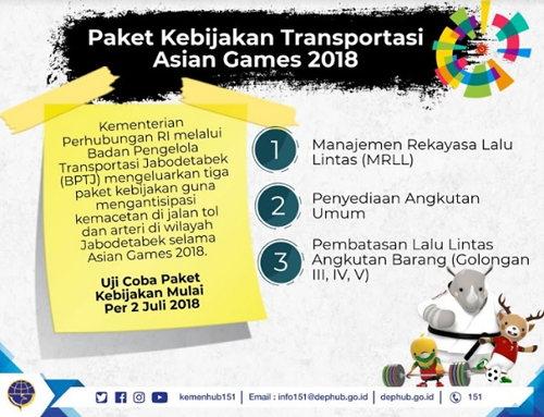 Asian Games : Paket Kebijakan Transportasi Pemerintah, demi Kelancaran Lalu Lintas lemaripojok